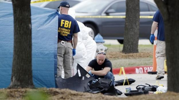 US police search the home of suspected gunmen who attacked a Texas event on cartoons of the Prophet Muhammad, officials say.