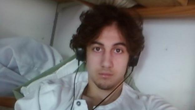 Boston bomber Dzhokhar Tsarnaev, who has maintained a stoic demeanour throughout the court proceedings, cries as an aunt testifies.