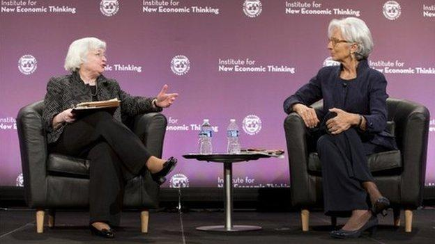 "Federal Reserve chief Janet Yellen told IMF managing director Christine Lagarde there are ""potential dangers"" in high stock market valuations."