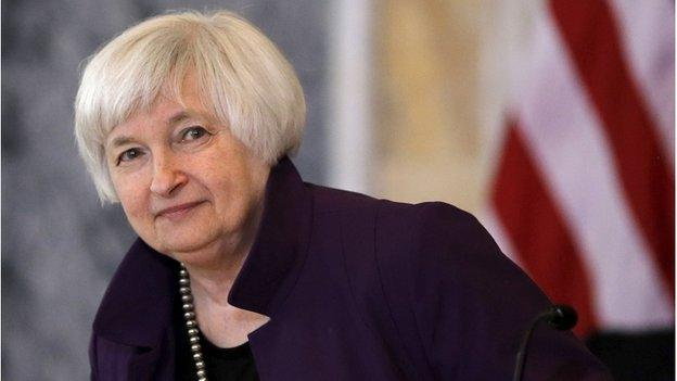 "The chair of the US Federal Reserve, Janet Yellen, says she expects the central bank to begin raising interest rates ""at some point this year""."