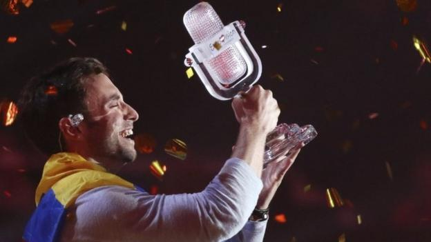 Swedish singer Mans Zelmerlow triumphs at this year's Eurovision Song Contest in Vienna, beating Russia's Polina Gagarina.