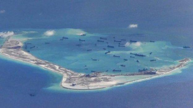 "The US calls for an ""immediate halt"" to land reclamation in disputed areas of the South China Sea, saying China is ""out of step"" with international rules."