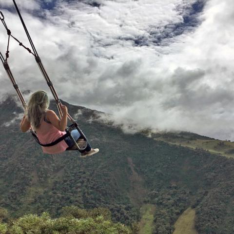 Ecuador, Baños, swing, volcano (Credit: Credit: Eliot Stein)