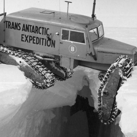 Crevasse with trapped vehicle (Credit: Getty Images)