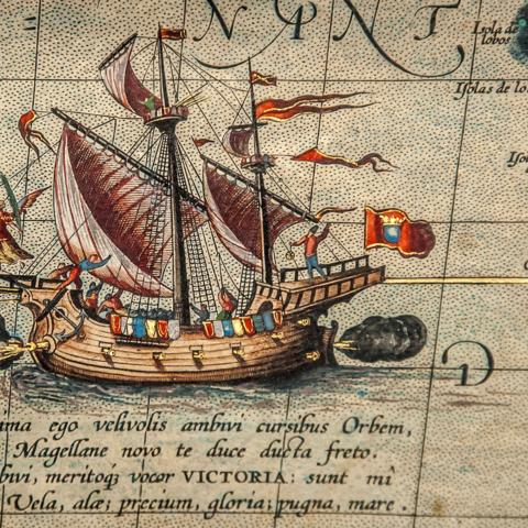 Theatre of the World features a small drawing of Ferdinand Magellan's ship, Victoria (Credit: Credit: Rossi Thomson, by permission of the Biblioteca Civica Bertoliana – Vicenza)