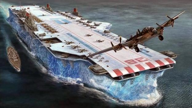 A giant aircraft carrier built from ice
