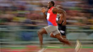 Usain Bolt running the 100 metres