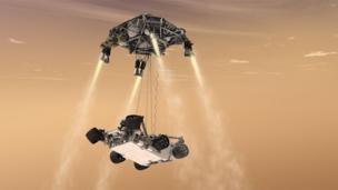 Artwork of Curiosity landing on Mars (Copyright: Nasa)
