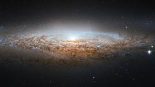 Spiral galaxy edge on as seen by Hubble Space Telescope (Copyright: Nasa)