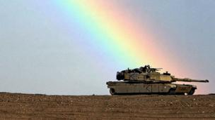 Tank in Kuwait with a rainbow above it (Copyright: Getty Images)