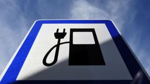 Electric car recharging station sign (Copyright: Getty Images)