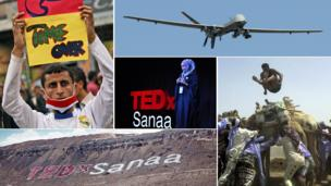 Montage of pictures from Yemen and TEDxSanaa (Copyright: Getty Images and TEDxSanna)