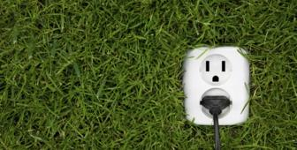 Plug in grassy wall