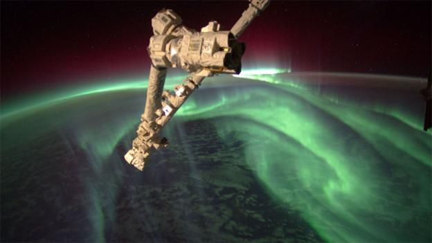 Aurora seen from the ISS (Copyright: Nasa)