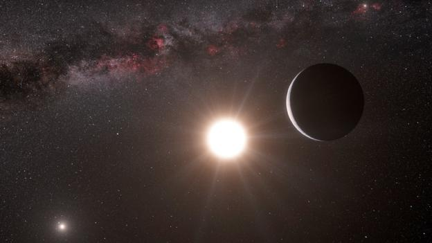 Artists impression of an Earth-sized planet orbiting Alpha Centauri B. (Copyright: ESO)