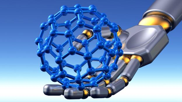 Robot carrying a buckyball (Copyright: SPL)