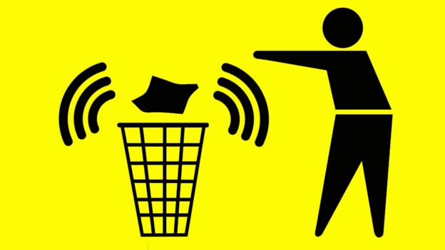 Graphic showing bin with mobile connection (Copyright: SPL/Thinkstock)