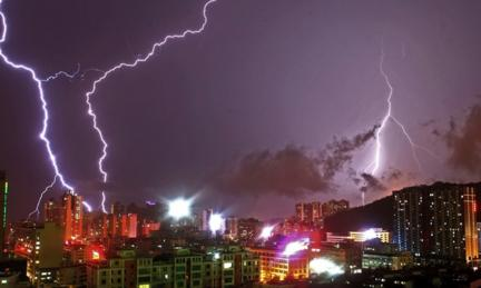Lightning strike in China