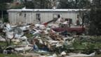 Debris at a mobile home park which was destroyed by a tornado on Sunday, west of Shawnee, Oklahoma May 19, 2013.