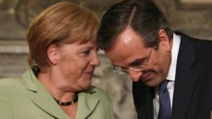 German Chancellor Angela Merkel and Greek Prime Minister Antonis Samaras in Athens (9 Oct 2012)