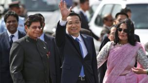 China's Premier Li Keqiang on his arrival in Delhi on Sunday afternoon