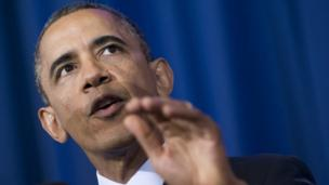 US President Barack Obama speaks about his administration's drone and counterterrorism policies, as well as the military prison at Guantanamo Bay, at the National Defense University in Washington, DC 23 May 2013