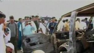 Aftermath of Pakistan bus fire
