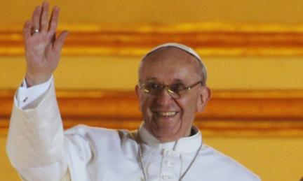 "Pope Francis waves to the crowd from the central balcony of St. Peter""s Basilica at the Vatican"