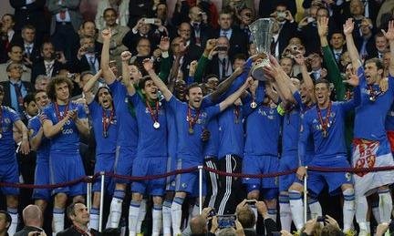 Chelsea celebrate winning the Europa League final