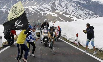 Riders race towards the Stelvio Pass in 2012