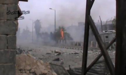 An image grab taken from a video uploaded on Youtube by Qusair Media Centre on 24 May 2013