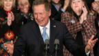 Republican presidential candidate Ohio Governor John Kasich speaks at a campaign gathering with supporters upon placing second place in the New Hampshire republican primary on February 9, 2016 in Concord, New Hampshire.