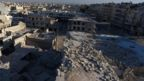 A still image taken on September 27, 2016 from drone footage obtained by Reuters shows damaged buildings in a rebel-held area of Aleppo, Syria