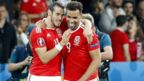 Gareth Bale congratulates Hal Robson Kanu