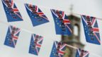 File photo taken on June 13, 2016 shows Pro-Brexit depicting a Union flag merged with the EU flag