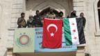 Turkish flag over Afrin