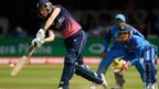 England's Sarah Taylor hits a boundary v India in the World Cup final