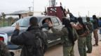 Syrian Kurdish fighters welcome pro-government forces to the Kurdish enclave of Afrin to help them combat Turkish forces (20 February 2018)