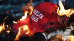 Make America Great Again hat on fire