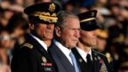 President George W Bush in honoured with the Sylvanus Thayer Award at the US Military Academy in West Point, New York.