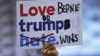Sign saying 'Bernie or Trump wins'