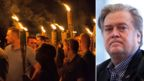 A composite of far-right protesters holding torches at a rally and chief White House strategist Steve Bannon