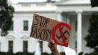 White House with anti-Nazi sign