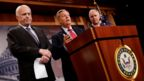 "Senator Lindsey Graham, accompanied by Senator John McCain and Senator Ron Johnson, speaks during a press conference about their resistance to the so-called ""Skinny Repeal"" of the Affordable Care Act on Capitol Hill in Washington"