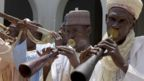 Traditional flautists perform to welcome US Secretary of State John Kerry at the palace of the Sultan of Sokoto in Sokoto, Nigeria - Tuesday 23 August 2016