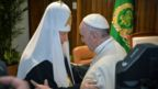 Patriarch Kirill (left) and Pope Francis embrace