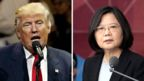 """This combination of two photos shows U.S. President-elect Donald Trump, left, and Taiwan""""s President Tsai Ing-wen"""