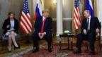 US interpreter Marina Gross (left) with President Donald Trump (centre) and Russian President Vladimir Putin in Helsinki, 16 July