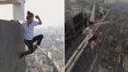 A composite image shows Wu Yongning, left, facing outward on the exterior of a wall high above the city skyline, holding on with just one hand from a ledge above ; and right, sitting on a steel girder which is projecting over the edge of a very tall building into the street