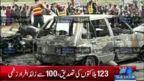 Charred vehicles at the scene of the tanker blaze near Bahawalpur, Pakistan, 25 June